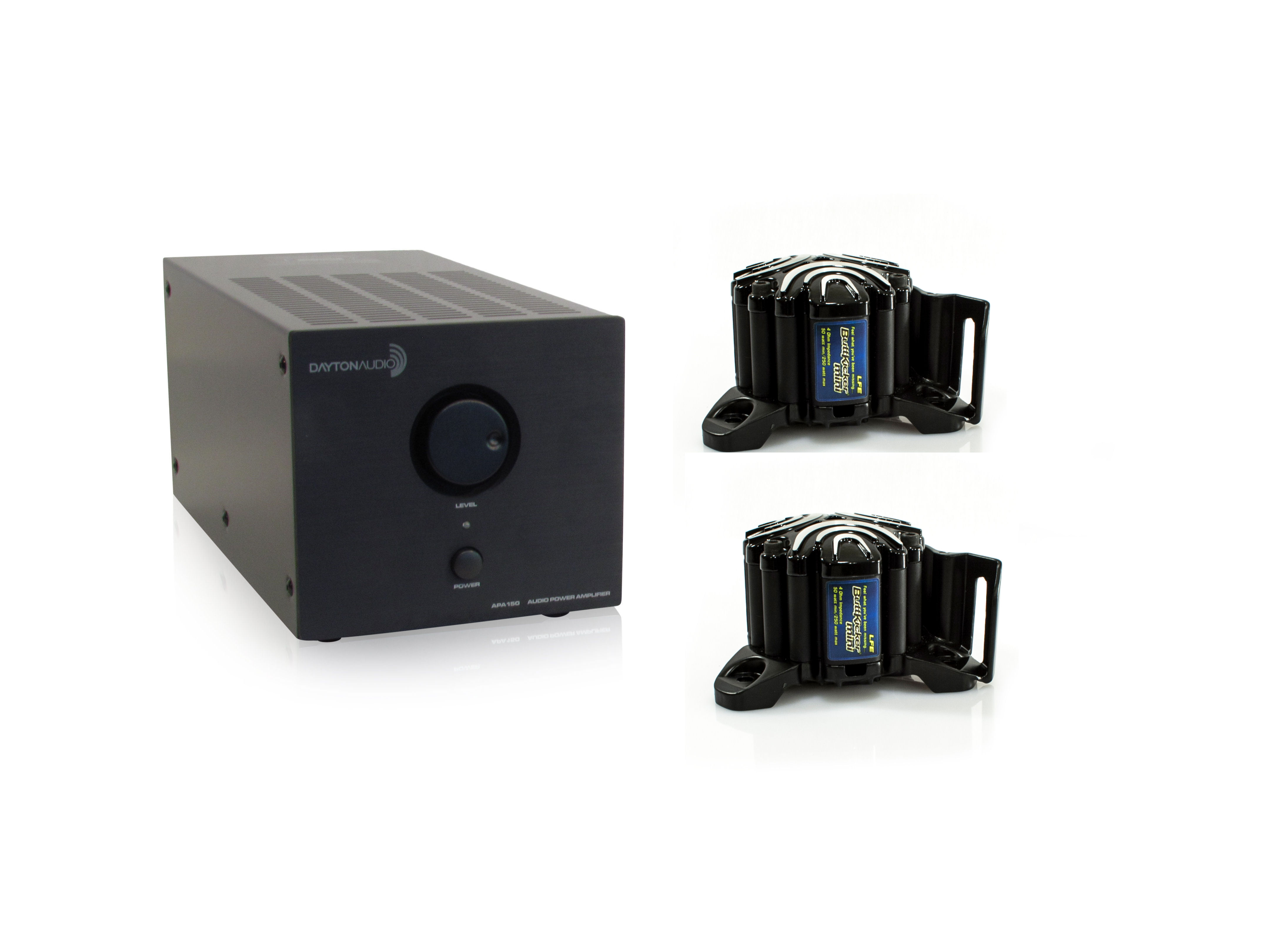 2 ButtKicker BK-mini-LFE With Dayton Audio APA150 Bundle